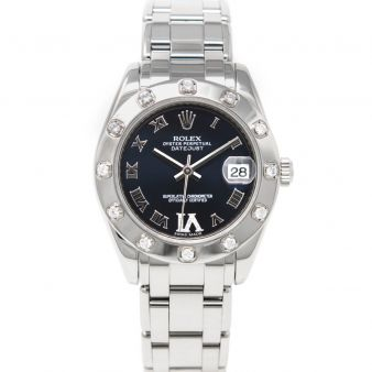 Rolex Ladies Pearlmaster 34 81319 Wristwatch, Pearlmaster Bracelet, Midnight Purple Roman IV Diamond Dial, Diamond Bezel
