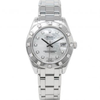 Rolex Lady Datejust Pearlmaster 34 81319 Wristwatch, Mother of Pearl Diamond Dial, Diamond Bezel