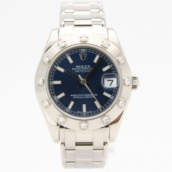 Rolex Lady Pearlmaster 34mm Gold Blue Index 81319 Watch Chest