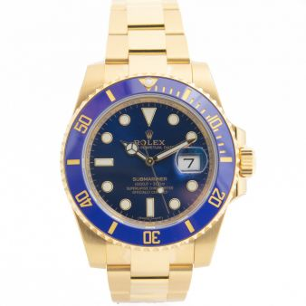 Rolex Submariner Yellow Gold Blue Dial Ceramic 116618LB Never Worn