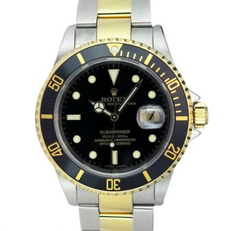 Rolex Submariner Black Face Yellow Gold Steel 16613LN, Watch Chest