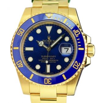 Rolex Submariner Yellow Gold Blue Dial Ceramic 116618LB Watch Chest