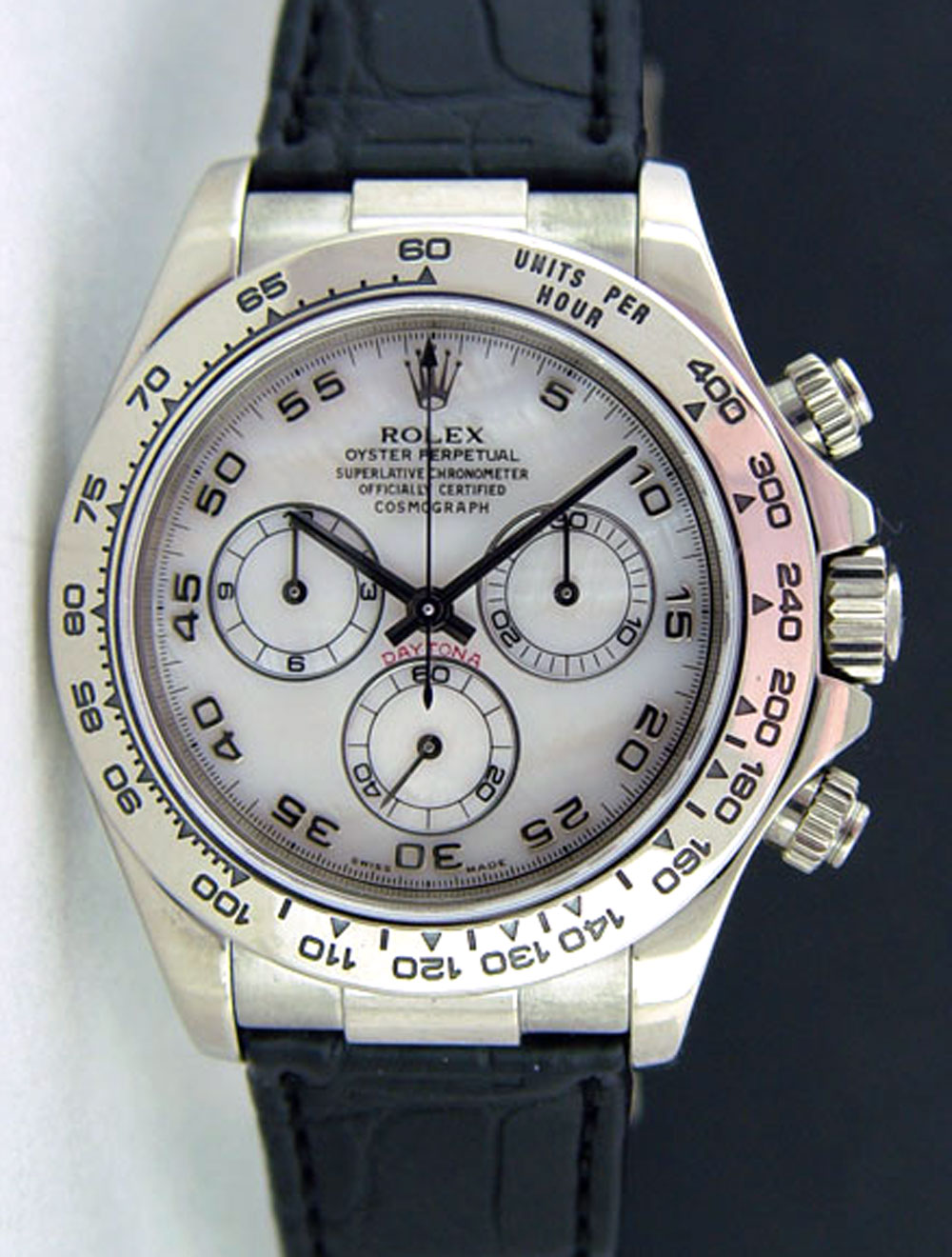 Rolex Cosmograph Daytona White Gold Mother Of Pearl Black Leather