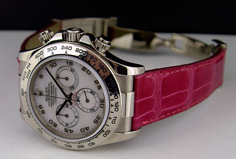 bf6f5af8e5e Rolex Cosmograph Daytona White Gold Mother of Pearl Pink Leather ...