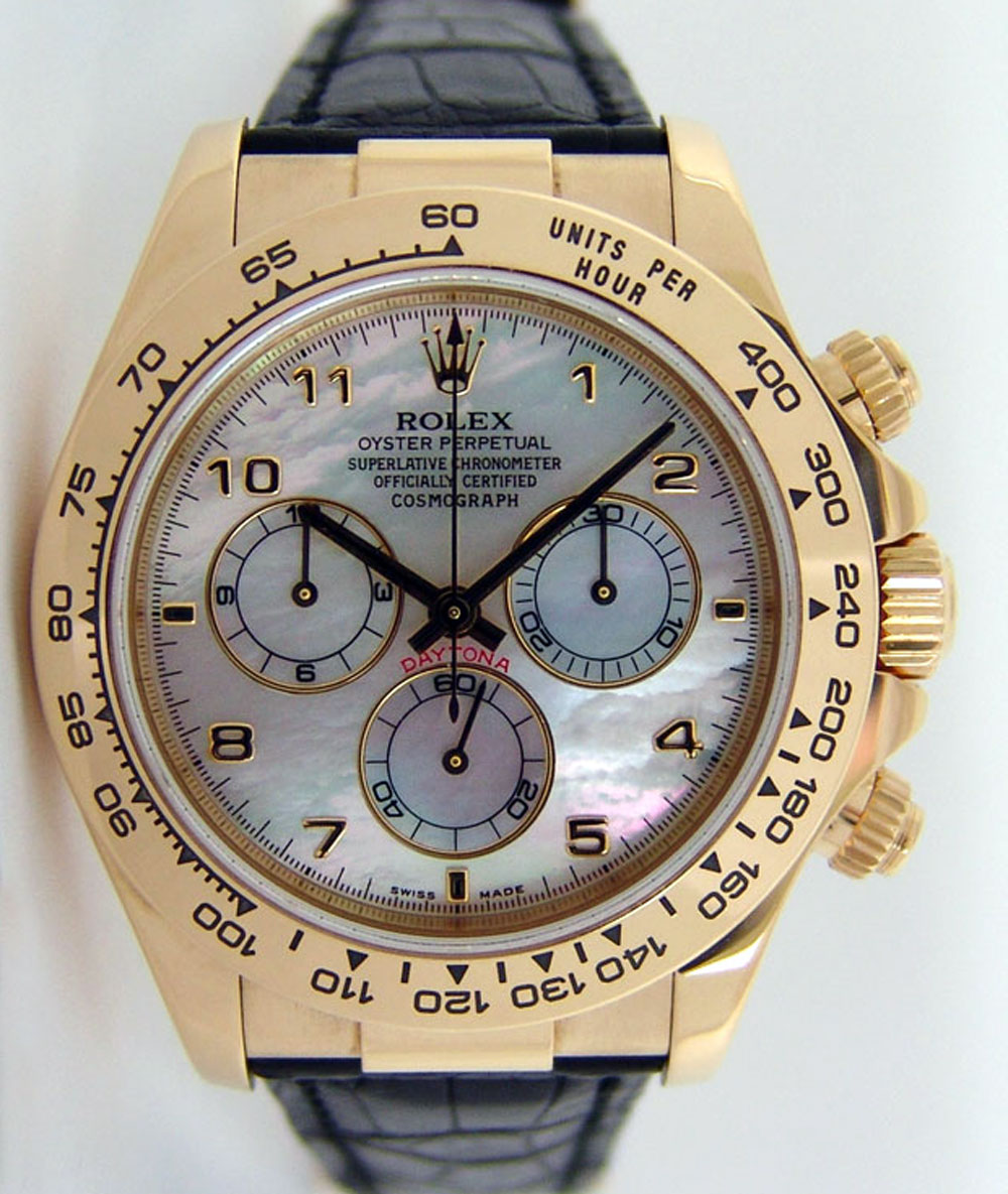 Rolex Daytona Gold Mother Of Pearl Arabic Black Leather Strap 116518