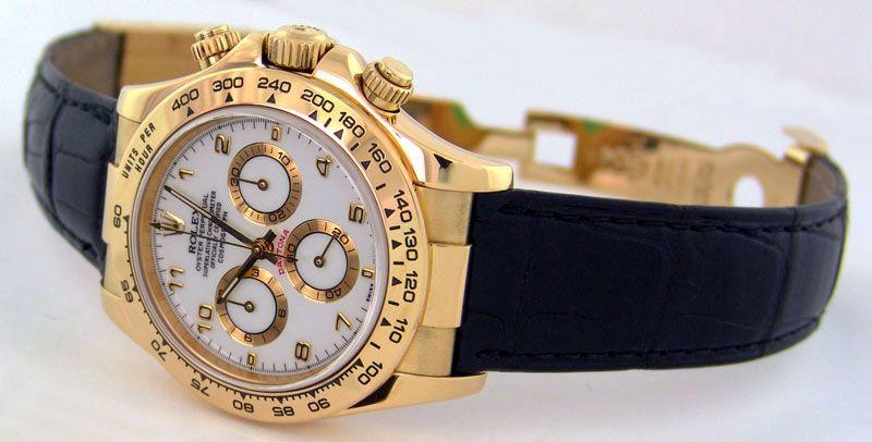 abdc75fb552 Rolex Daytona Yellow Gold White Arabic Black Leather Strap 116518 ...