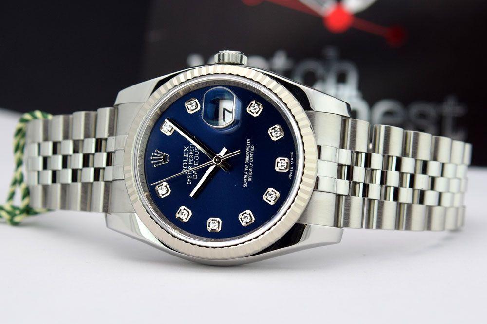 c6a358c462c Rolex Datejust White Gold Steel Blue Diamond 116234 Rehaut - WATCH ...