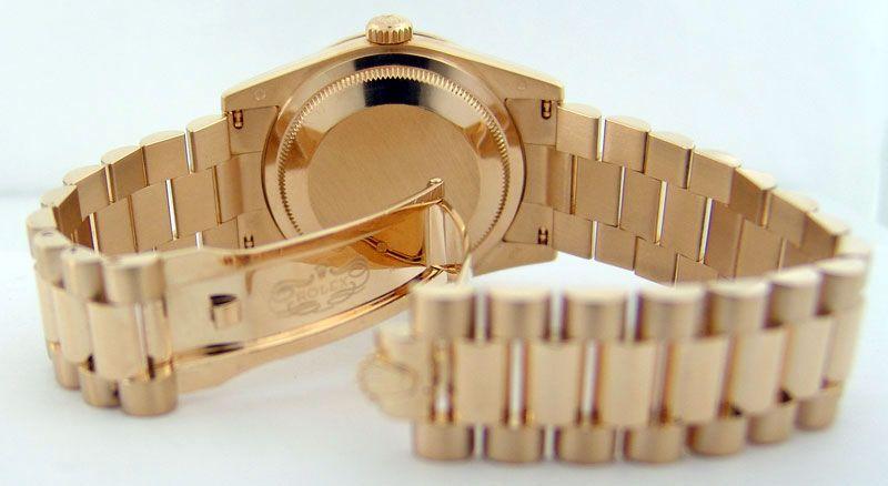 65c832cc87b65 Rolex Day Date President Gold Champagne Diamond Rehaut 118348 ...