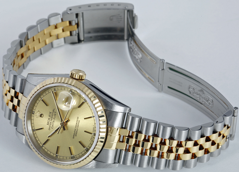Men's Rolex Datejust Two-Tone with Champagne Dial shown with open clasp