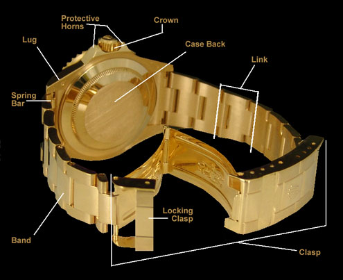 Diagram of Back of Rolex Swiss Watch