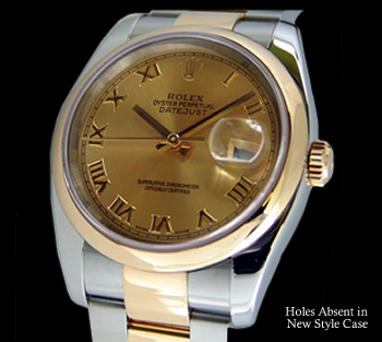 No Holes in new style Rolex case.